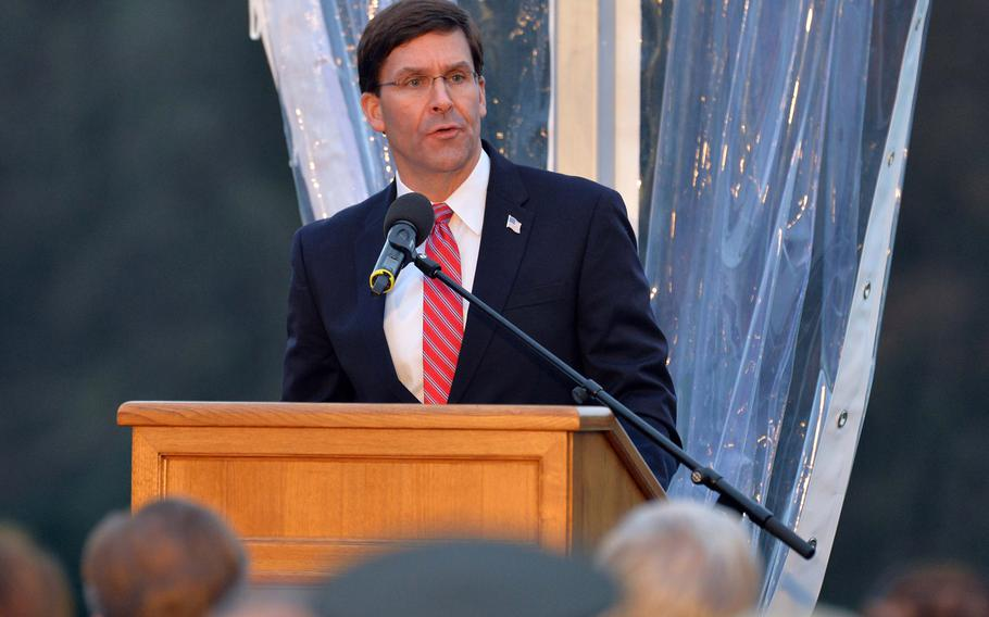 U.S. Defense Secretary Mark T. Esper speaks at the commemorations at the Luxembourg American Cemetery marking the 75th anniversary of the Battle of the Bulge, Monday, Dec. 16, 2019.