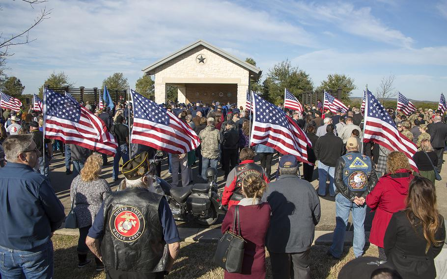About 1,000 people attended the Jan. 28, 2019, funeral of Air Force veteran Joseph Walker at the Central Texas State Veterans Cemetery in Killeen. Walker was buried by the Veterans Land Board as part of its unaccompanied veteran burial program.