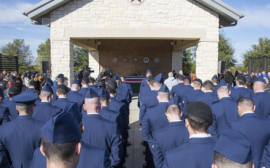 Airmen attend the Jan. 28, 2019, funeral of Air Force veteran Joseph Walker at the Central Texas State Veterans Cemetery in Killeen. Walker was buried by the Veterans Land Board as part of its unaccompanied veteran burial program.