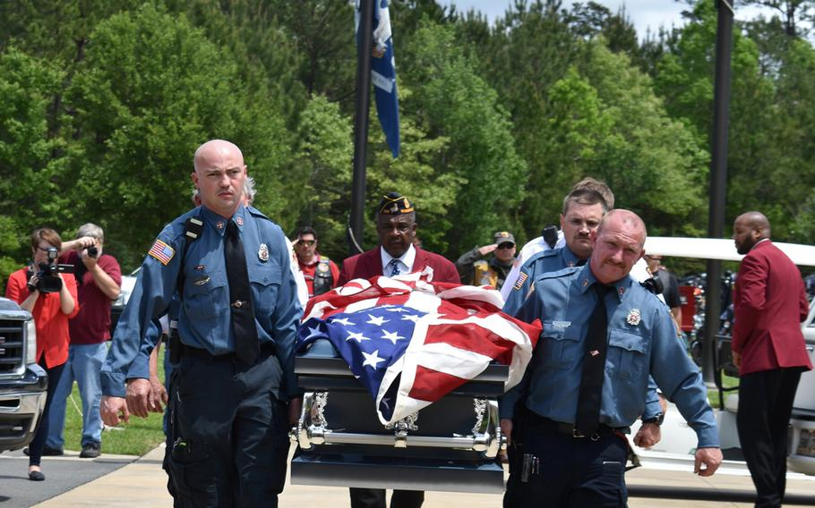The casket of former Army Pfc. Thomas Bernard Winn is carried into the Central Louisiana Veterans Cemetery in Leesville on April 17, 2019. Winn died April 2 at age 65. The state was unable to identify any relatives, so the Louisiana Department of Veterans Affairs worked with local charities to bury Winn with full military honors and to provide a funeral.