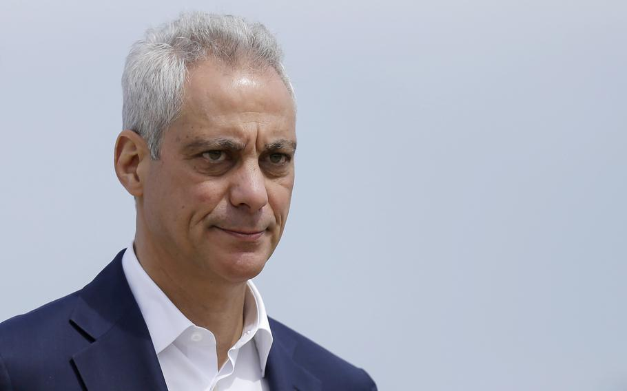 In this April 22, 2019, file photo, then-Chicago Mayor Rahm Emanuel arrives at a news conference outside of the south air traffic control tower at O'Hare International Airport in Chicago.