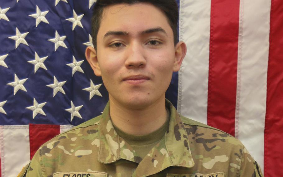 Private First ClassEduardo M. Flores was last seen nearSan Bernardino, Calif., officials said. He may be with a girl who was recently reported missing from thearea.
