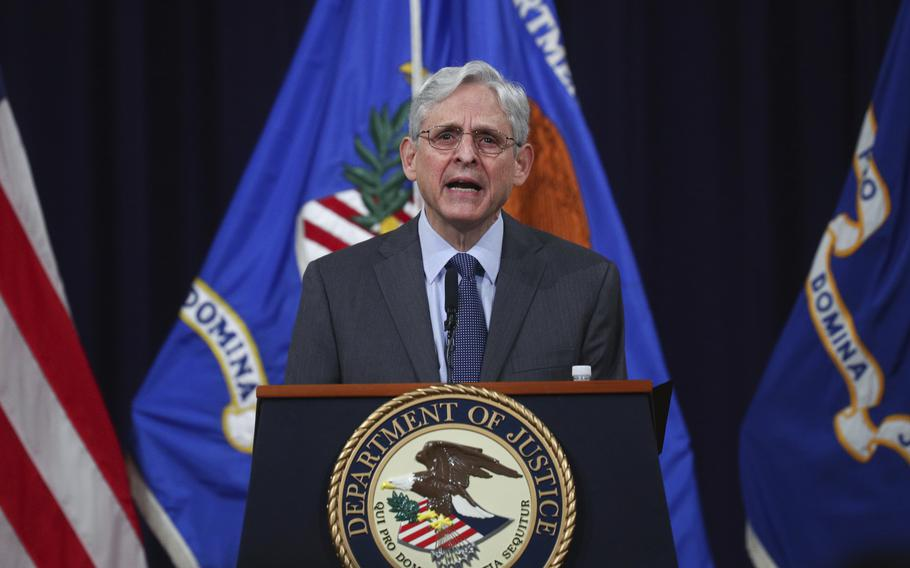 U.S. Attorney General Merrick Garland speaks about voting rights at the Justice Department in Washington, on Friday, June 11, 2021.
