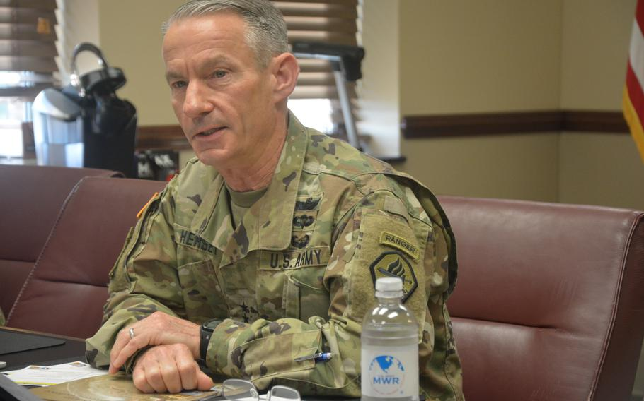 Maj. Gen. Neil S. Hersey addresses a virtual audience during Fort Gordon's third COVID-19 Town Hall on March 26, 2020.