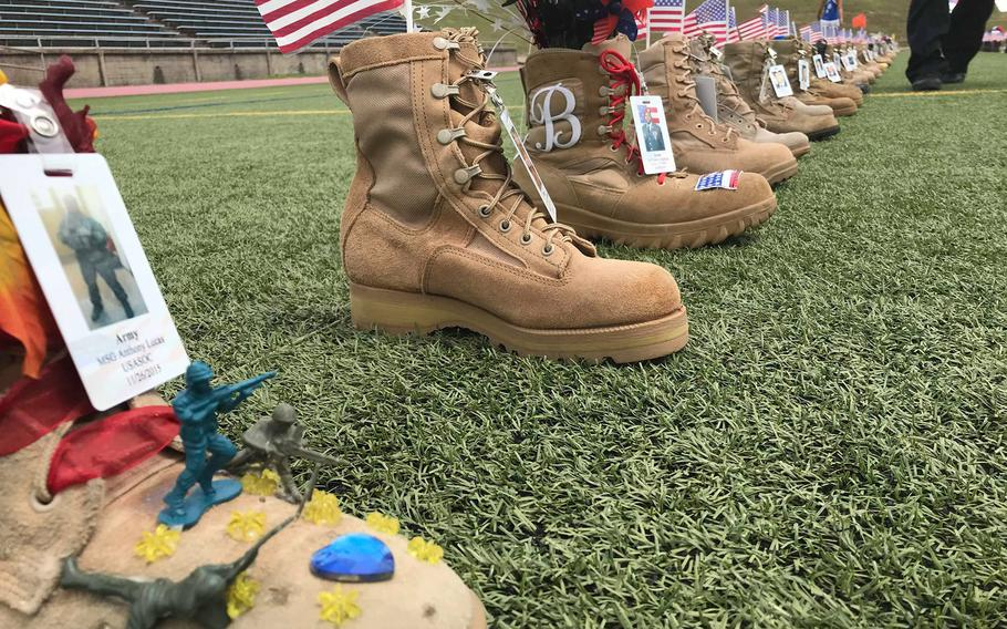 Boots at displayed during All American Week at Fort Bragg in August, 2019.