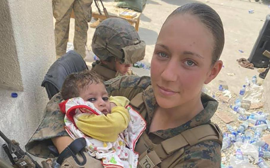 Marine Sgt. Nicole Gee, shown here in a photo posted to social media, was one the 13 U.S. military service members killed in a suicide attack at Kabul's Hamid Karzai International Airport on Aug. 26, where they worked to help evacuate Americans and Afghan refugees.