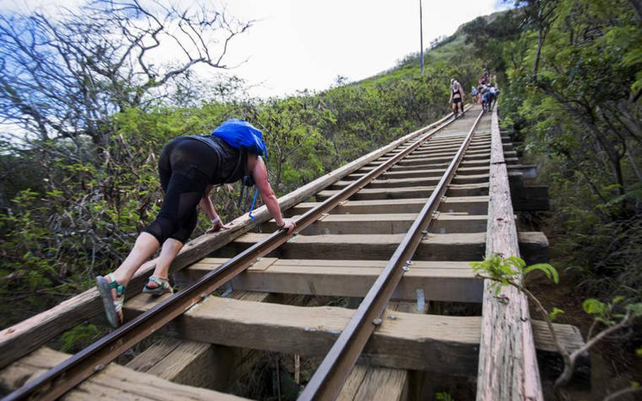 The Koko Crater Stairs on the Hawaiian island of Oahu are shown in this undated file photo.