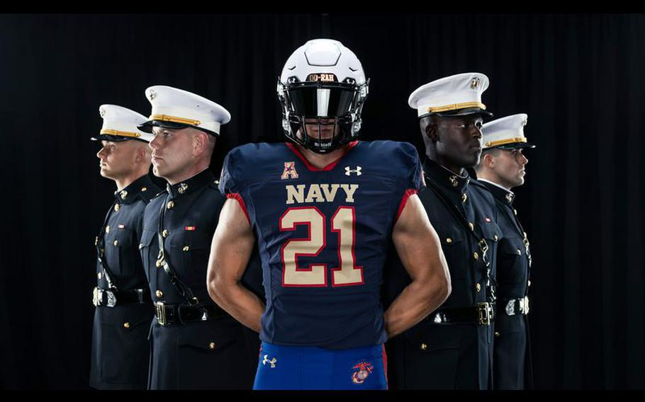 Navy Athletics and Under Armour have unveiled a special Marine Corps-themed uniform the Navy football team will wear for the Sept. 11 game against Air Force at Navy-Marine Corps Memorial Stadium.