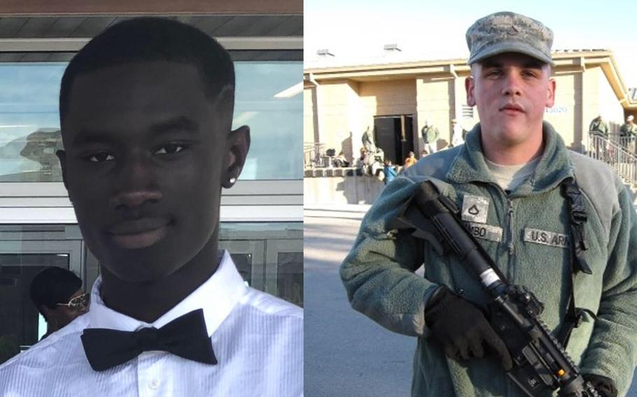 Spc. Malvin Kyei-Baffour, left, and Sgt. 1st Class Keith A. Rambo, right, died when their car caught fire after hitting the wreckage of another car crash on July 18 on Loop 375 near Iron Medics Drive in East El Paso, Texas.