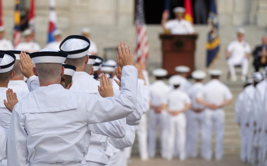 The United States Naval Academy welcomes the incoming Midshipmen 4th Class, or plebes, of the Class of 2023 during Induction Day 2019 on June 27, 2019.