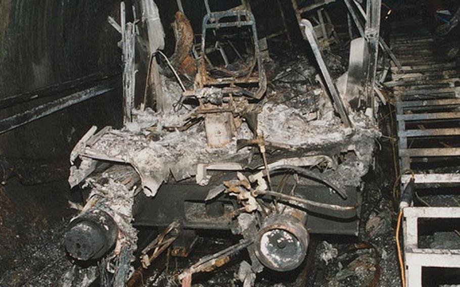 The charred rubble of a ski cable car rests in a tunnel in Kaprun, Austria, a few days after the accident on Nov. 11, 2000. 155 skiers were killed, including eight Americans stationed with the military in Germany.