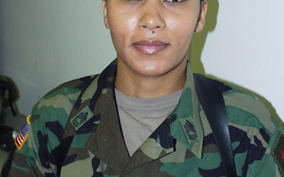 Army Sgt. 1st Class Martisha Briggs is the non-commissioned officer-in-charge of the Joints Visitors Bureau for Task Force Falcon.