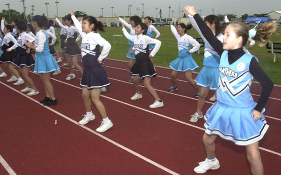Japanese cheerleaders got their first chance to cheer and first-ever glimpse of American football at a game Saturday at Kadena Air Base.