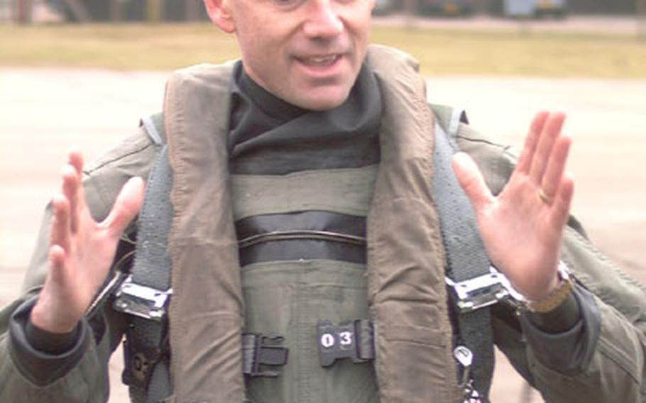 Lt. Col. Jay Silveria, commander of the 492nd Fighter Squadron at RAF Lakenheath, England, talks about a training deployment Friday before leading 10 jets from the squadron to Portugal.