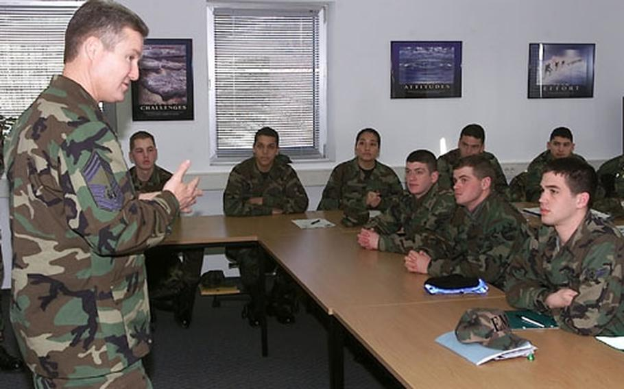 Chief Master Sergeant of the Air Force Gerald Murray speaks to students at the First Term Airman Center during his visit to Spangdahlem Air Base, Germany, on Friday.