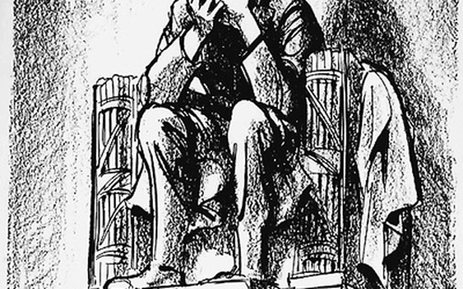 Bill Mauldin published this cartoon showing a grieving Abraham Lincoln at the Lincoln Memorial in the Chicago Sun-Times Nov. 23, 1963, the day after John F. Kennedy's assassination.