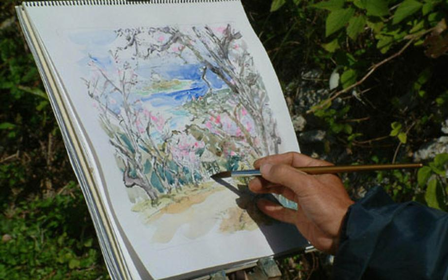 Getting it down on paper. The blossoming of cherry trees in northern Okinawa draws artists as well as photographers.
