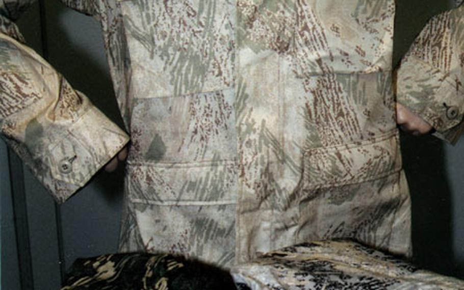 """The """"all-over brush"""" camouflage pattern being tested by researchers at the U.S. Army's Soldier Systems Center in Natick, Mass."""