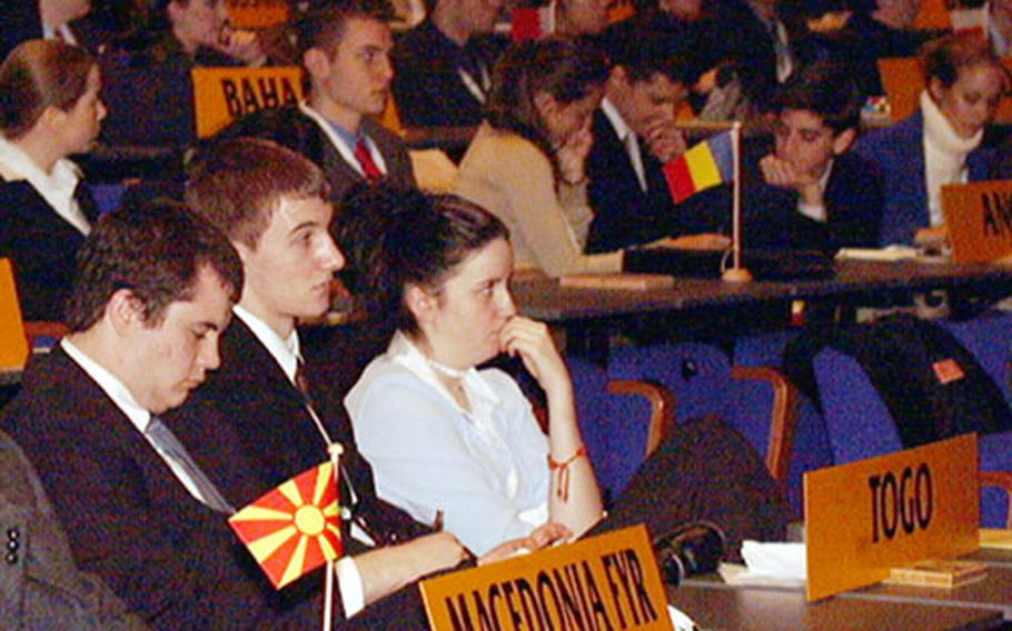 The Department of Defense Dependents Schools sent 243 students to The Hague International Model United Nations. Representing the West African nation of Togo, fell to a group of students from RAF Alconbury, England.