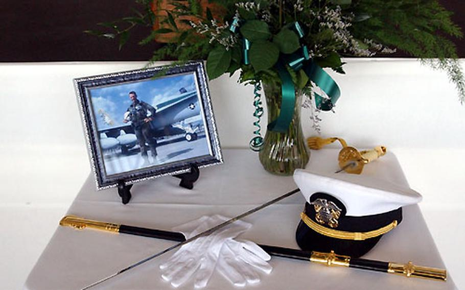 During the memorial service for Lt. Nathan D. White, a silent display portraying a man of duty, devotion, and courage.