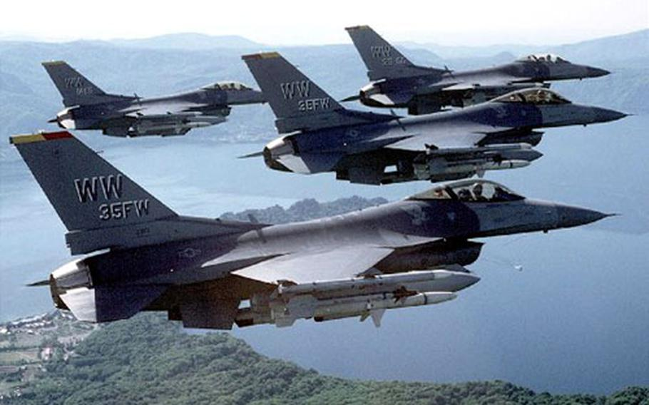 Misawa F-16CJ aircraft will take part in Cope North exercises set to begin Wednesday at Misawa Air Base, Japan. The bilateral exercise between U.S. and Japanese pilots runs through May 16.