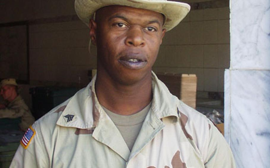 Army Sgt. Reuben Strother runs the just-opened dining facility for V Corp troops at Victory Camp.