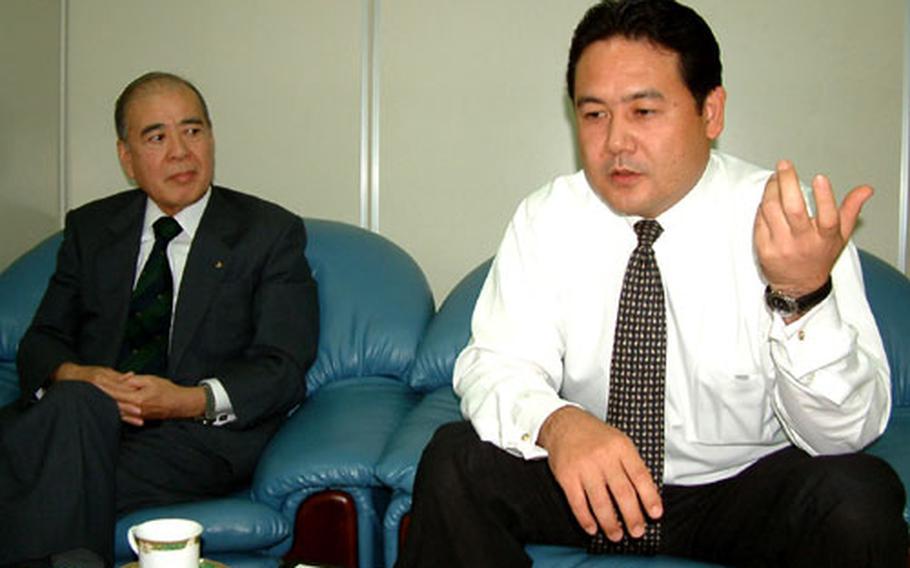 Satoshi Kawamitsu (left) and Yasuyuki Miyara (right) discuss their involvement in the sexual assault case concerning Marine Maj. Michael Brown.