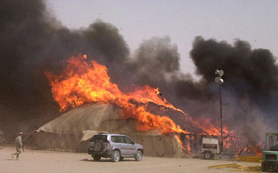 The fire in the first tent spread quickly to three other tents.
