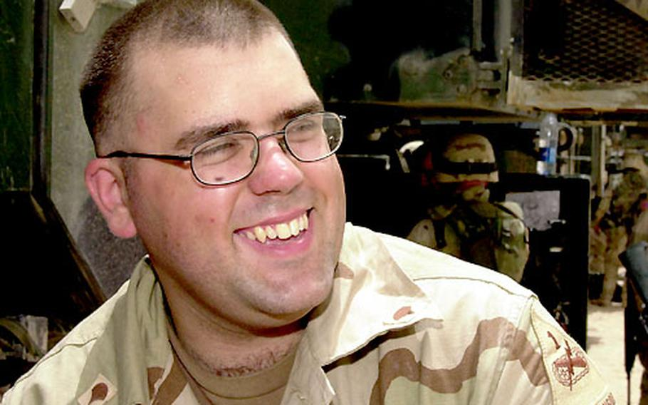 Spc. Ryan Glowacki, 22, of Pinckney, Mich., struck out on his own across the desert when the flatbed truck carrying his M109 Paladin broke down in Kuwait.