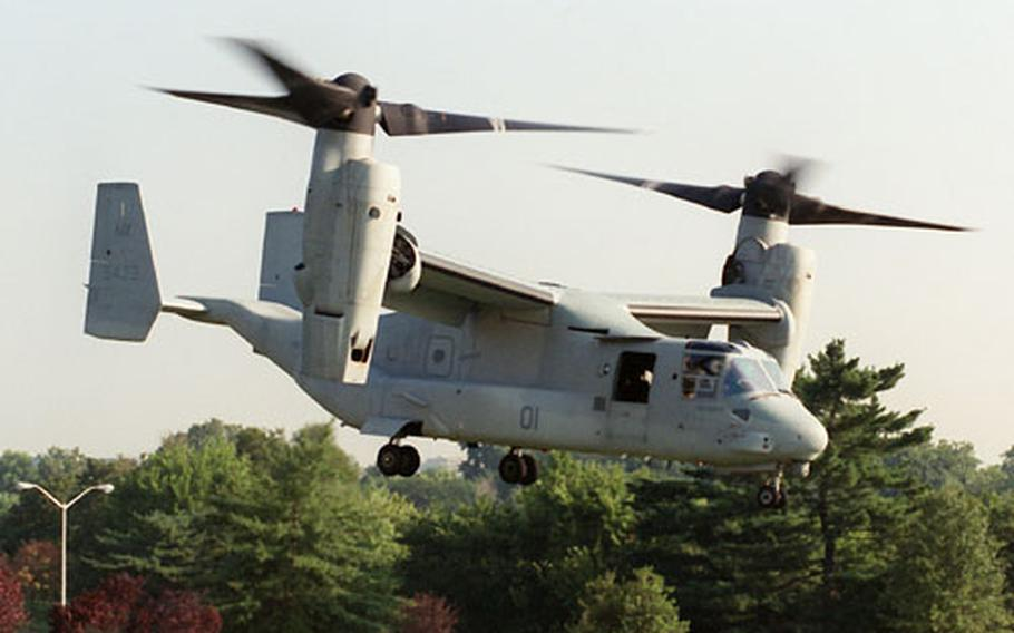 A Bell Boeing MV-22 Osprey comes in for a landing at the Pentagon on Sept. 8, 1999, to demonstrate its capabilities before an audience of Department of Defense officials, members of Congress, and news reporters. The Osprey is the first operational aircraft to utilize tiltrotor technology. Taking off like a helicopter, the Osprey's engines then rotate forward 90 degrees to create a conventional aircraft configuration permitting high-speed, high-altitude, fuel-efficient flight.
