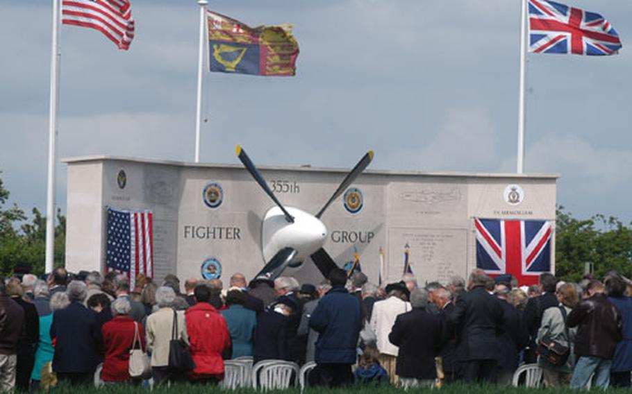 The base where the 355th Fighter Group was stationed during World War II is now an English wheatfield. But a memorial tells the story. More than 200 people gathered there Saturday to remember the aviatiors who died flying from the base.