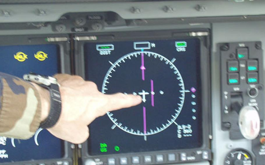 Lt. Col. Michael Polhemus, commander of the 726th Air Mobility Squadron, points out the line pilots must keep straight while flying. When pilots stray too far from course too much noise is heard in surrounding communities.