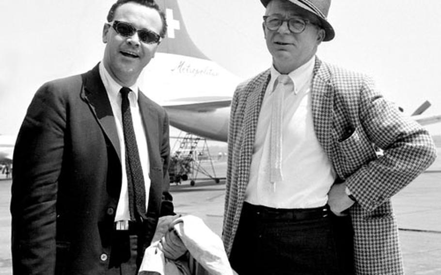 Jack Lemmon and Billy Wilder arrive in Frankfurt on a promotional tour in 1959.