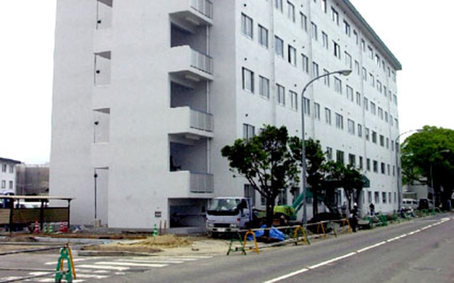The bulk of the construction on Sasebo Naval Base's new Bachelor Officers Housing six-floor tower is finished. The $8.8 million high rise is slated for completion on July 31.
