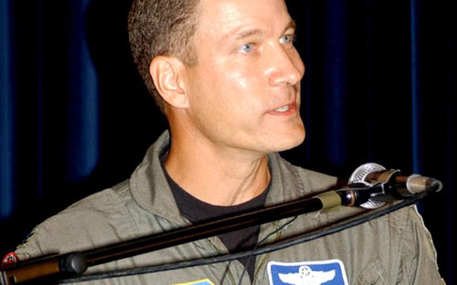 Col. William MacLure, vice commander, 39th Wing, speaks Monday at Incirlik Air Base, Turkey.