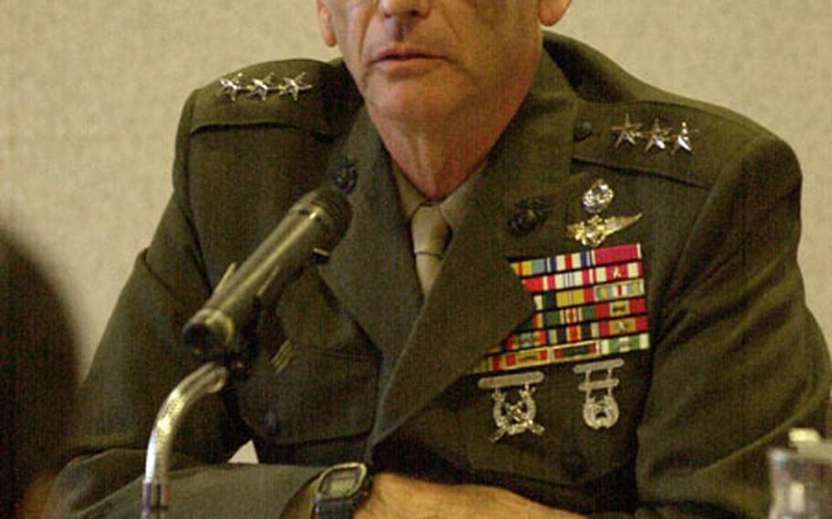 Lt. Gen. Earl B. Hailston, Commander, U.S. Marine Forces Pacific, speaks at the Japan Press Center in Tokyo.