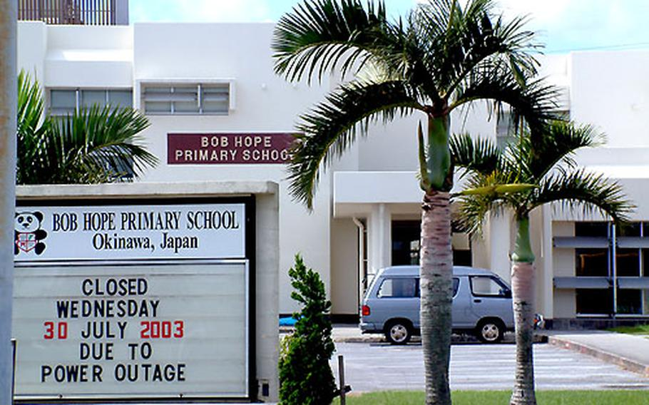The halls were empty Tuesday at Bob Hope Primary School on Kadena Air Base, Okinawa, but officials said the year with open with commemoration of the school's namesake.