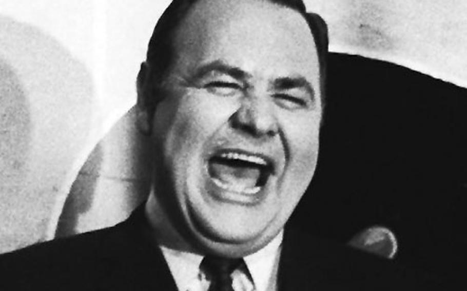Comedian Jonathan Winters, during a rehearsal of a Holiday on Ice show at the Festhalle in Frankfurt, Germany, in January, 1967.