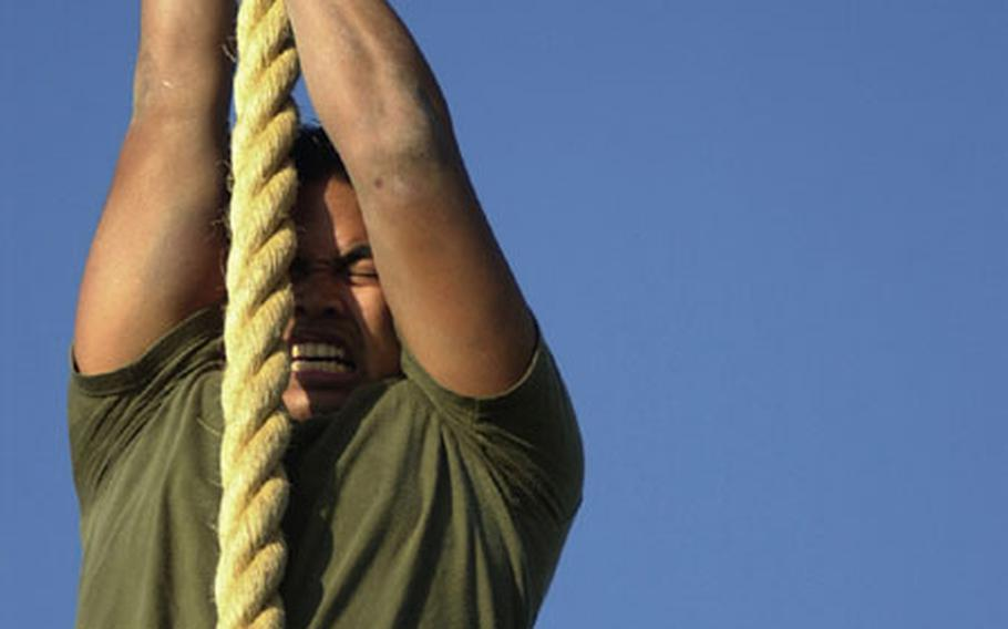 A sailor uses all his strength to pull himself up the rope at the end of the obstacle course Wednesday during the Battle Skills Competition at Camp Schwab.
