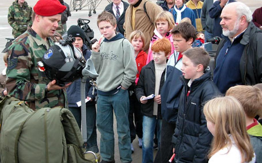 Tech. Sgt. Ty Clark explains special-tactics equipment.