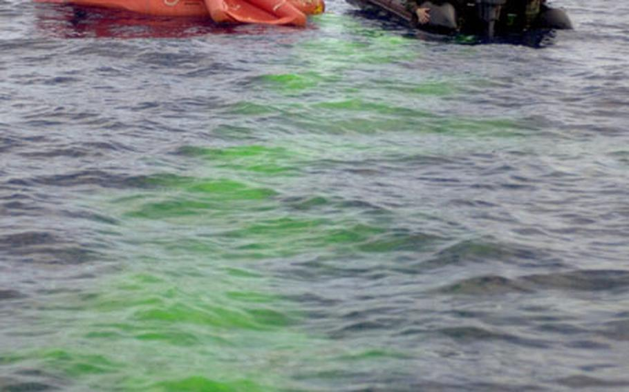 A green dye trail shows the path of the raft that some of the crash victims were in during the 31st Rescue Squadron's exercise Thursday. The dye is released once the packet becomes wet and can last for hours.