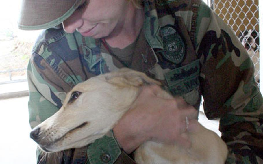 Shelly Kennington, a ship's serviceman third class with NAS Sigonella, Sicily's Stray Animal Facility, hugs an occupant of the new facility, which opened Monday.