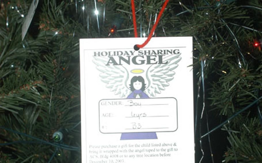 Angel Tree donors are given only the age and gender of selected children — names and units are not told to protect families involved in the program. Gifts are distributed to unit leaders for private disbursement right before the holidays.