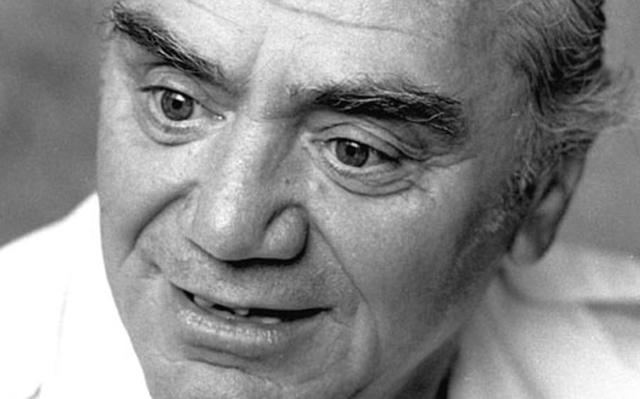 Actor Ernest Borgnine talks with a Stars and Stripes reporter at a Wiesbaden hotel in June, 1979.