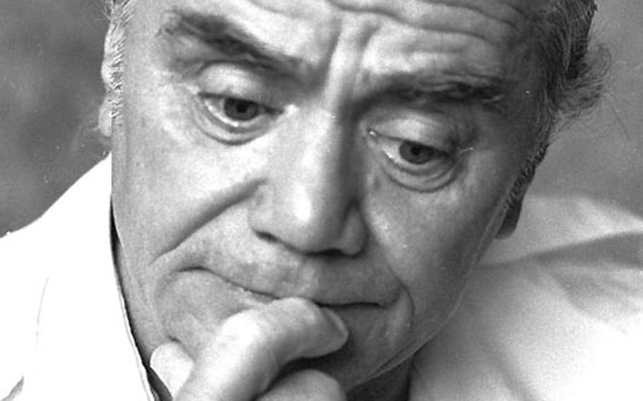Actor Ernest Borgnine ponders a question during an interview with a Stars and Stripes reporter at a Wiesbaden hotel in June, 1979.