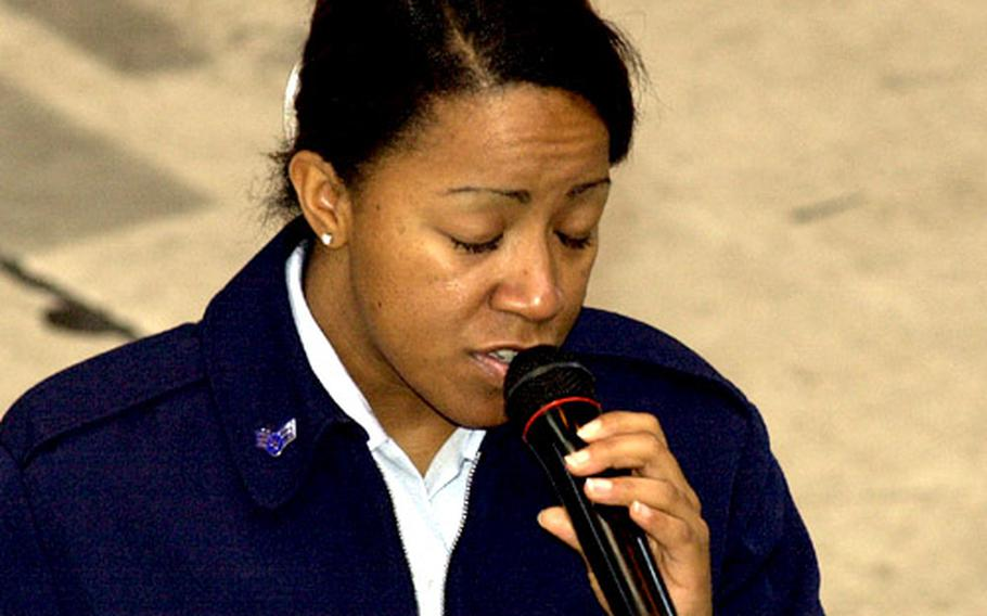 """Senior Airman Natalie Madison, a vocalist with the U.S. Air Force Band of Pacific-Asia, sings a song from George Gershwin's American opera, """"Porgy and Bess."""""""
