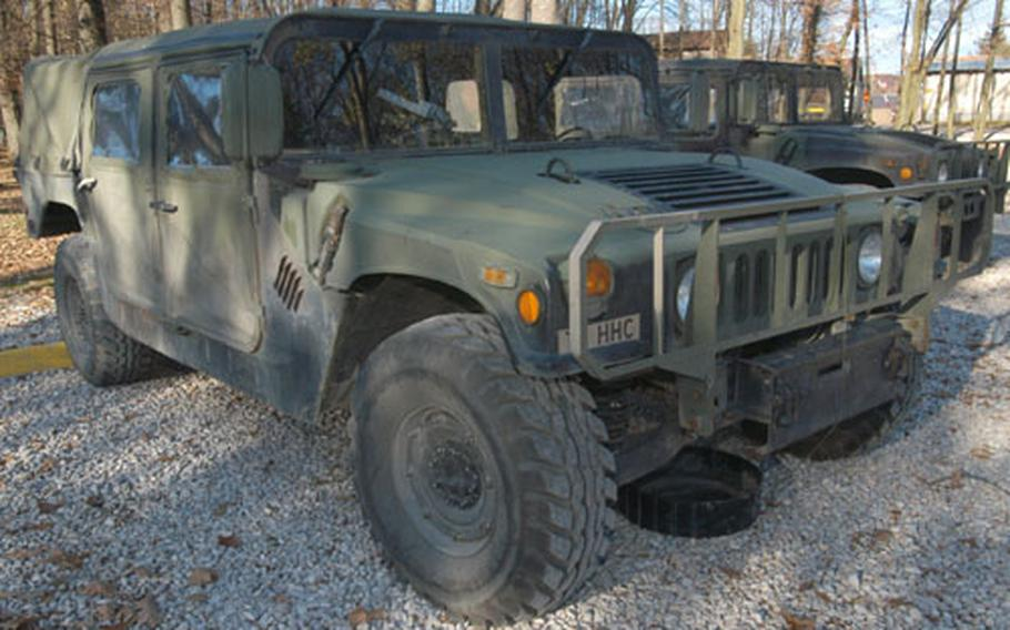 """Shown is a Humvee without special armor at Eagle Base, Bosnia and Herzegovina. So-called """"up armored"""" Humvees are being sent from Europe to Iraq to keep U.S. troops safer from attacks."""