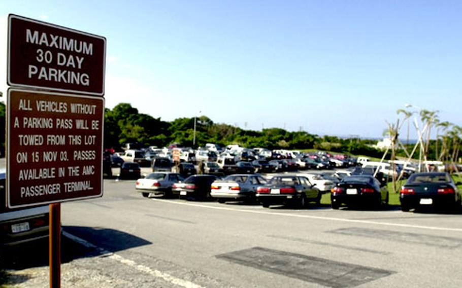 Under a new plan, parking passes must be obtained from the passenger terminal at Kadena Air Base, Okinawa, for all persons parking at the long-term lots. Violators will be ticketed and towed, officials say.