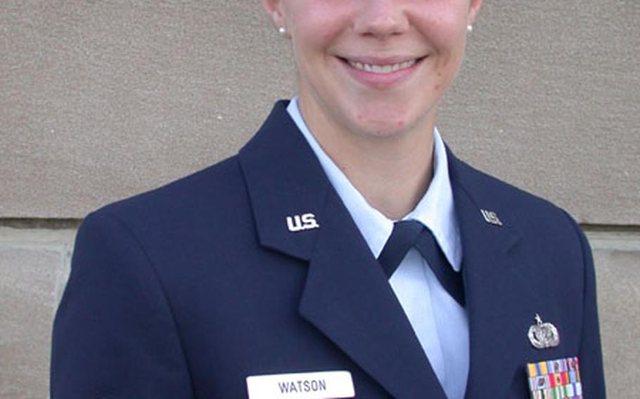 Staff Sgt. Jennifer Watson, an information assistant in the Pentagon's Office of Public Affairs, displays a properly worn metallic name tag on her uniform jacket. Watson bought her name tag in October 2002, while assigned to RAF Mildenhall in England.