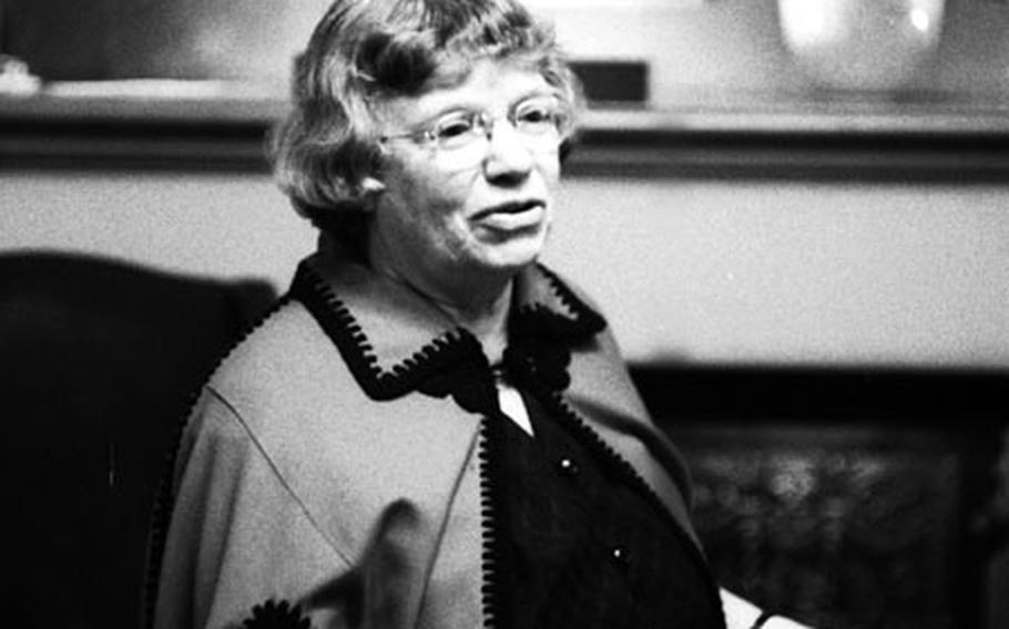Anthropologist Margaret Mead, during a May, 1972 press conference at the Europa Hotel in Heidelberg, Germany.